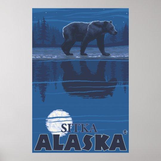 Bear in Moonlight - Sitka, Alaska Poster