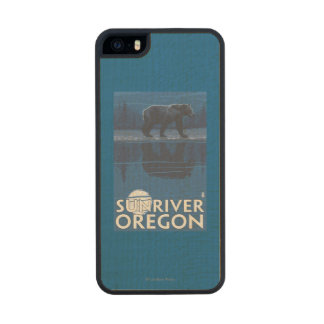 Bear in Moonlight - Sun River, Oregon Carved® Maple iPhone 5 Slim Case