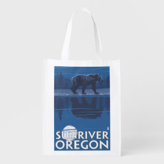 Bear in Moonlight - Sun River, Oregon Grocery Bag