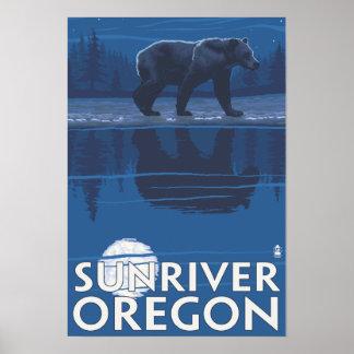 Bear in Moonlight - Sun River, Oregon Poster