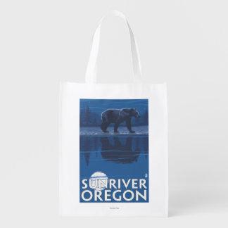 Bear in Moonlight - Sun River, Oregon Reusable Grocery Bag
