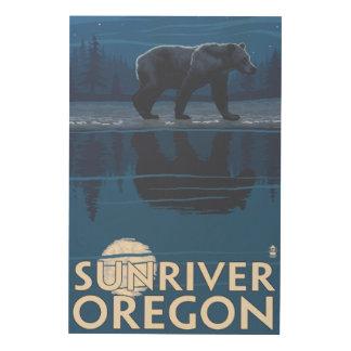 Bear in Moonlight - Sun River, Oregon Wood Print