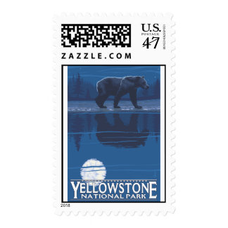 Bear in Moonlight - Yellowstone National Park Postage
