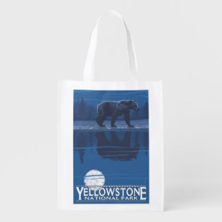Bear in Moonlight - Yellowstone National Park Reusable Grocery Bags