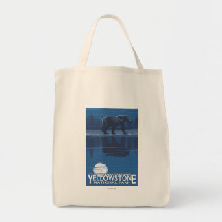 Bear in Moonlight - Yellowstone National Park Tote Bag