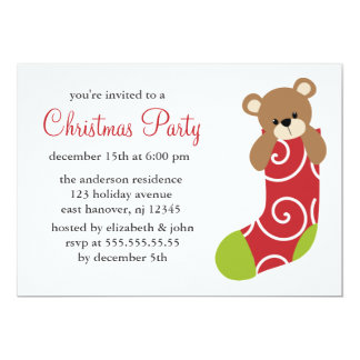 Bear in Stocking Christmas Party Invitations