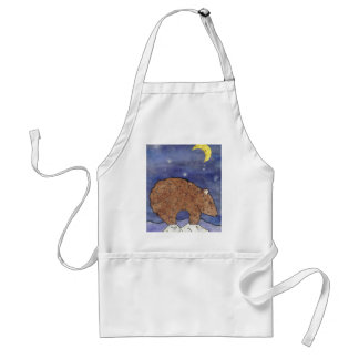 bear in the moon light adult apron