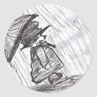 Bear in the Rain Classic Round Sticker