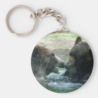 bear in water pencil art keychain