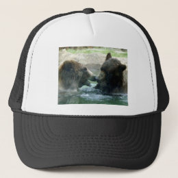 bear in water pencil art trucker hat