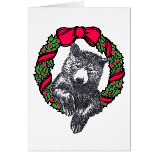 bear in wreath card
