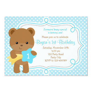 Bear Invitation (1st Birthday / Baby Shower) - Boy
