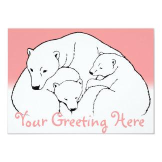 "Bear Invitations Personalized Polar Bear Cubs Card 4.5"" X 6.25"" Invitation Card"