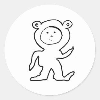 Bear Jammies Kid Classic Round Sticker
