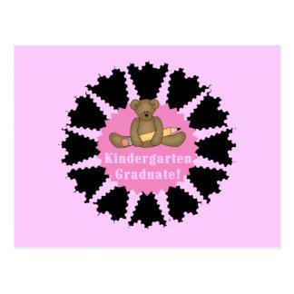 Bear Kindergarten Graduate - Pink Postcard
