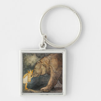 Bear Kiss Silver-Colored Square Keychain