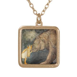 Bear Kiss Square Pendant Necklace