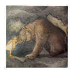 """Bear Kiss Tile<br><div class=""""desc"""">She kissed the bear on the nose. Beautiful illustration by John Bauer from the story """"Bella's Glorious Adventure"""", written by Helena Nyblom and featured in the book &quot;Swedish Folk Tales"""". Illustration of a large brown bear bending down so a little princess with the golden hair and crown can kiss his...</div>"""