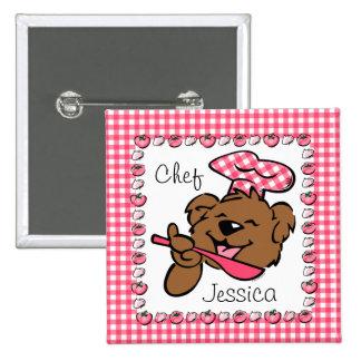Bear Little Chef Custom Button (Squ)