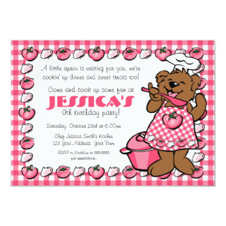 Bear Little Chef Party Invitation