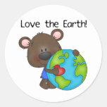 Bear Love the Earth Round Sticker