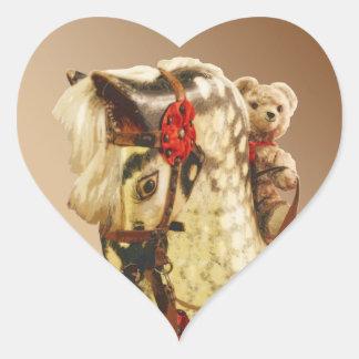 Bear Lover? Vintage Teddy Riding Wooden Horse Heart Sticker