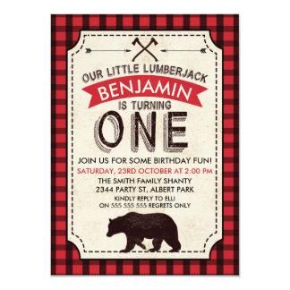 Bear Lumberjack 1st Birthday Invitation