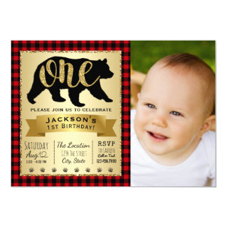 Bear Lumberjack 1st Birthday Party Invitations
