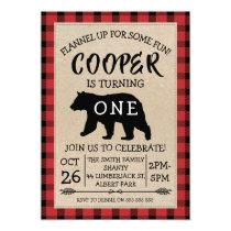 Bear Lumberjack Birthday Party Invitation