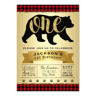 Bear Lumberjack First Birthday Party Invitations