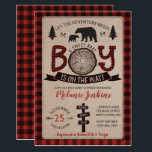 "Bear Lumberjack Flannel Boy Baby Shower Invitation<br><div class=""desc"">Lumberjack Flannel Boy Baby Shower Invitation</div>"