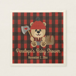 Bear Lumberjack Wilderness Themed Baby Shower Napkin