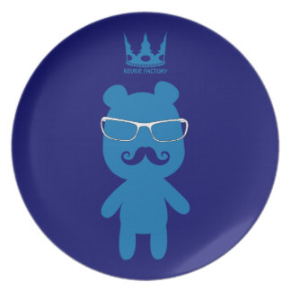 Bear man baron blue party plates