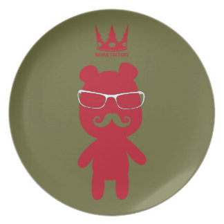 Bear man baron red party plate