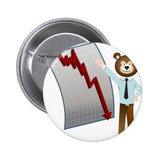 Bear Market Stock Cartoon 2 Inch Round Button