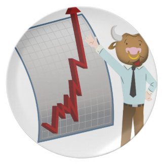 Bear Market Stock Chart Drawing Melamine Plate