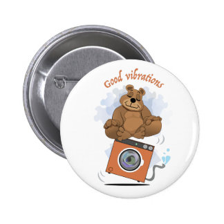 Bear meditation round button