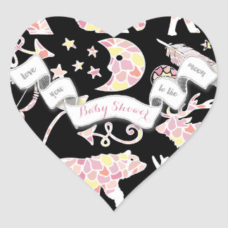 Bear Moose Love You to the Moon Baby Girl Shower Heart Sticker