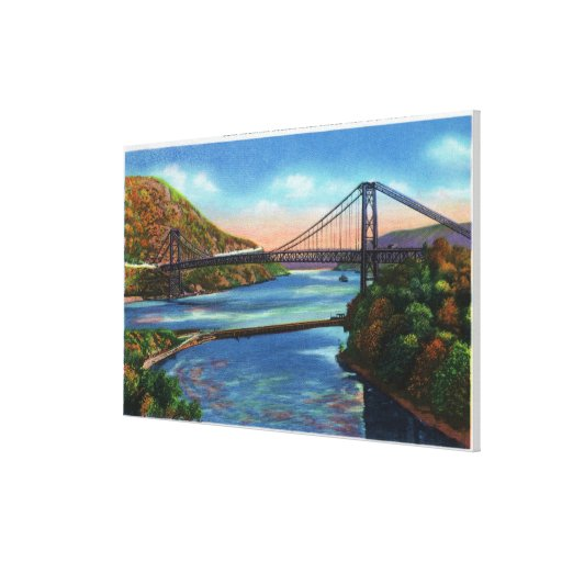 Bear Mountain Hudson River Bridge Stretched Canvas Print