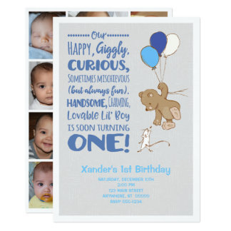 Bear & Mouse 1st Birthday Photo Collage Invitation