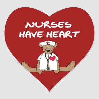 Bear Nurses Have Heart T-shirts and Gifts Heart Sticker