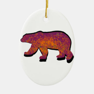 BEAR OF SOL Double-Sided OVAL CERAMIC CHRISTMAS ORNAMENT