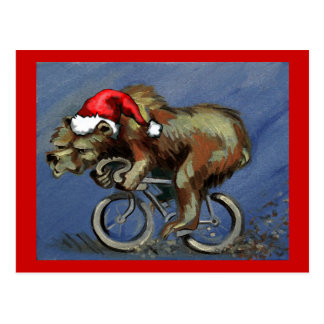 Bear On A Bike For Hipster X-Mas Postcard