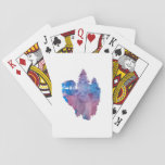 Bear on a floating island playing cards