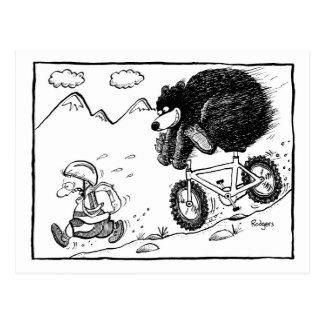 bear on bike post card
