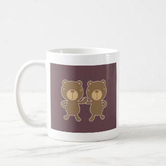 Bear on plain plum background. coffee mug
