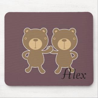 Bear on plain plum background. mouse pad