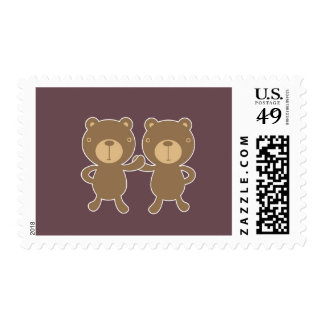 Bear on plain plum background. postage stamp