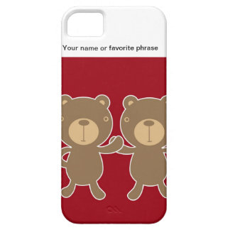 Bear on plain preppy red background. iPhone 5 case