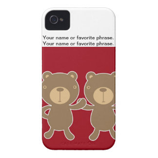 Bear on plain preppy red background. Case-Mate iPhone 4 case